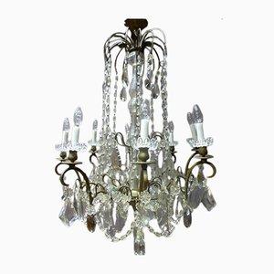 Lámpara de araña francesa antigua de bronce y cristal