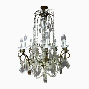 Lustre Antique en Bronze et en Cristal, France