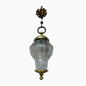 Farol francés antiguo de vidrio y bronce