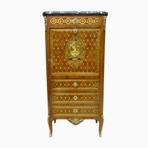 Secreter francés antiguo de bronce y madera