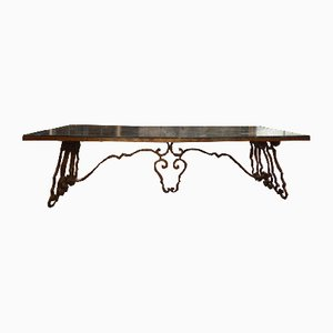Marble and Wrought Iron Table, 1940s