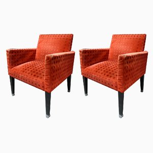 Velvet Armchairs, 1970s, Set of 2