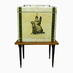 Mueble bar de pergamino de Aldo Tura, años 50