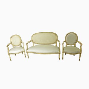 Antique Louis XVI Style Sofa & 2 Armchairs Set