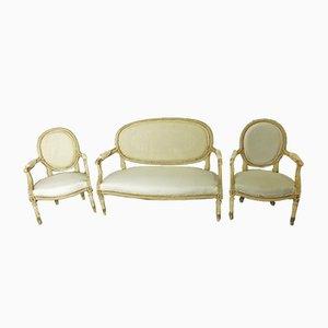 Juego de sofá y 2 butacas estilo Louis XVI antiguo