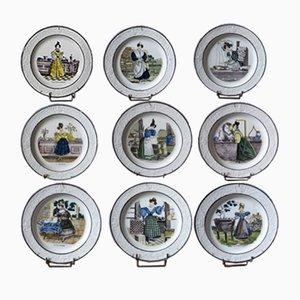 Service à Vaisselle de Choisy le Roi Antique en Faïence de Paillart & Hautin, Set de 9