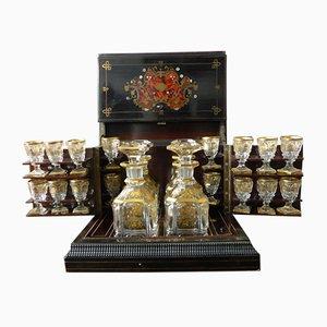 Antikes Napoleon III Likör-Set mit Intarsien