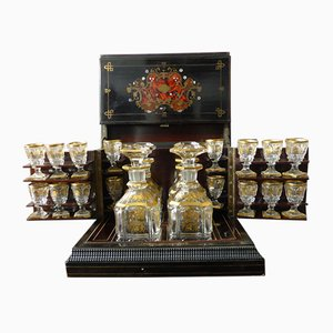 Antique Napoleon III Marquetry Liqueur Cellar Set