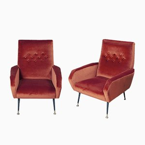 Italian Brass and Chenille Armchairs, 1950s, Set of 2