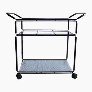 Postmodern Iron and Galvanized Metal Trolley with Perforated Shelves, 1980s