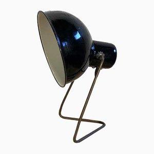 Lámpara de mesa industrial de hierro esmaltado, años 30