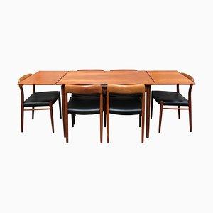 Modell 75 Set mit Tisch & Stühlen von Niels Otto Møller für JL Møllers, 1950er