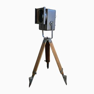 Industrial Iron and Wood Floor Lamp, 1980s