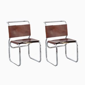 Bauhaus Leather and Tubular Steel Dining Chairs, 1970s, Set of 2