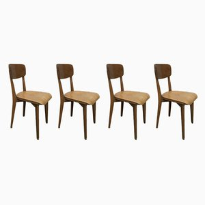 Französische Mid-Century Esszimmerstühle aus Buche, 1960er, 4er Set