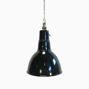 Industrial Cast Iron and Enamel Ceiling Lamp, 1930s