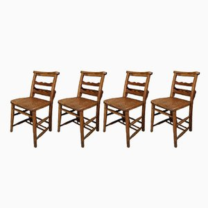 Kirchenstühle aus Ulmenholz & Buche mit Leiterlehne, 1930er, 4er Set