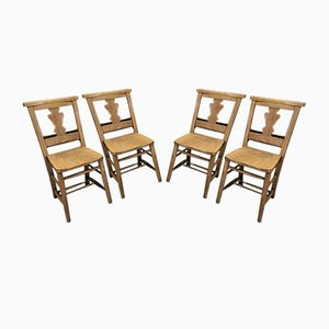 Oak & Beech Fiddleback Chapel Chairs, 1920s, Set of 4