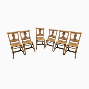 Oak & Beech Fiddleback Chapel Chairs, 1920s, Set of 6