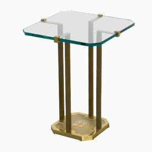 Mesa auxiliar de latón y vidrio de Peter Ghyczy, años 70