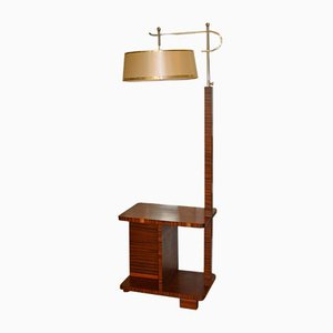 Art Deco Rosewood & Steel Floor Lamp, 1930s