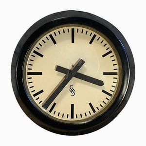 Deutsche Mid-Century Uhr aus Glas & Eisen von Siemens, 1950er
