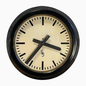 Reloj alemán Mid-Century de vidrio y hierro de Siemens, años 50