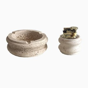 Travertine Smoking Set, 1970s
