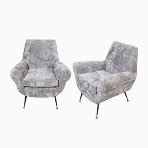 Italienische Sessel mit Bezug aus Chenille & Messingfüßen von Gigi Radice, 1960er, 2er Set