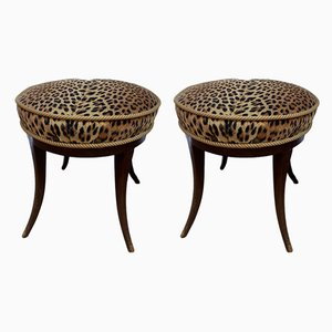 Italian Mahogany and Velvet Ottomans, 1950s, Set of 2
