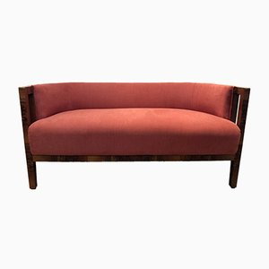 Vintage Art Deco Italian Fabric and Walnut Sofa, 1930s