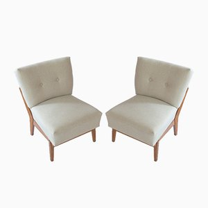 Mid-Century Oak Lounge Chairs, 1950s, Set of 2