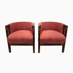 Art Deco Italian Fabric and Walnut Armchairs, 1930s, Set of 2
