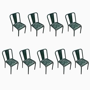Industrial French Metal T4 Dining Chairs by Tolix, 1960s, Set of 9