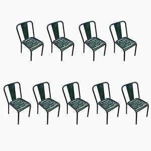 Industrielle französische T4 Esszimmerstühle aus Metall von Tolix, 1960er, 9er Set
