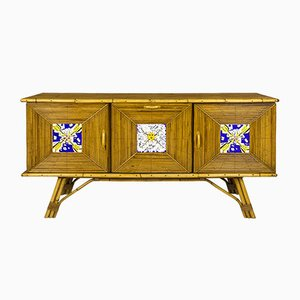 Mid-Century French Bamboo Sideboard with Ceramic Tiles by Salvador Dali, 1954