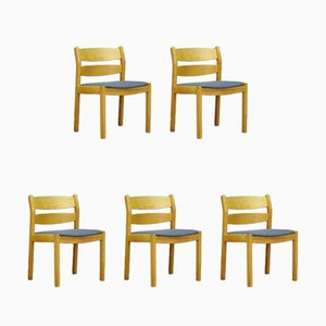 Danish Ash and Ash Dining Chairs by Kurt Østervig for FDB, 1960s, Set of 5