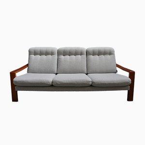 Sofá de tres plazas danés escandinavo vintage de teca y tweed, años 70