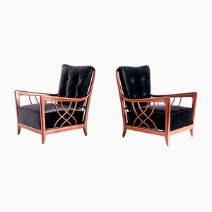 Italian Modern Mahogany and Velvet Armchairs by Paolo Buffa, 1940s, Set of 2
