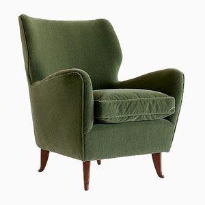 Moderne italienische Sessel mit Bezug aus Wolle & Samt von Gio Ponti, 1949, 2er Set