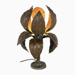 Brutalist Solid Copper Flower Table Lamp, 1960s