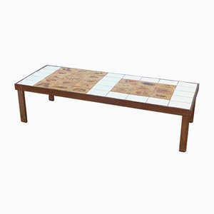 French Model Garrigues Ceramic and Steel Coffee Table by Roger Capron, 1960s