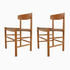 Blonde Oak and Paper Cord Chairs by Børge Mogensen for FDB, 1960s, Set of 2