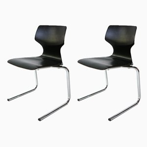 Cantilever Stacking Chairs, 1970s, Set of 2
