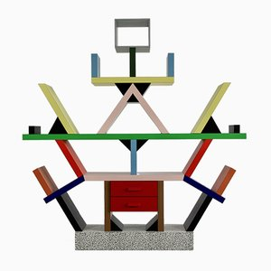 Italian Plastic and Wood Room Divider by Ettore Sottsass, 1981