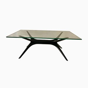 Mid-Century Italian Glass and Teak Coffee Table, 1960s