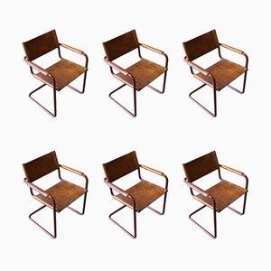 Armlehnstühle mit Ledersitz & Chromgestell von Marcel Breuer für Matteo Grassi, 1950er, 6er Set