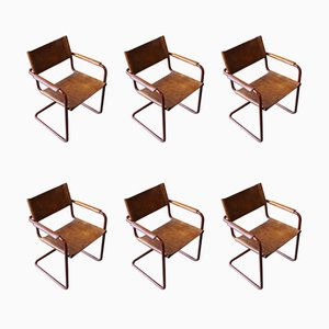 Chrome & Leather Armchairs by Marcel Breuer for Matteo Grassi, 1950s, Set of 6