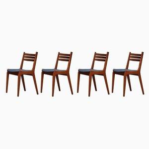 Danish Teak Veneer Dining Chairs, 1960s, Set of 4