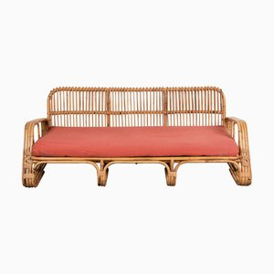Mid-Century Italian Metal and Rattan Sofa, 1960s